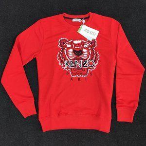 Kenzo Paris Red Tiger Pattern Men Sweatshirt
